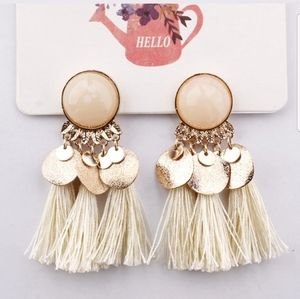 🆕Bohemian Cream Tassel Fringe Earrings